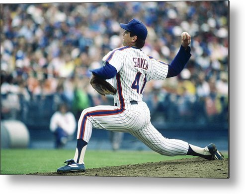 Archive Historical Profile Sideview Side View Mlb Major League B Metal Print featuring the photograph Tom Seaver by Rich Pilling