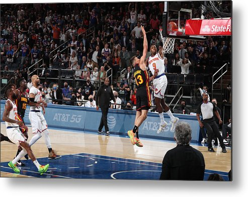 Playoffs Metal Print featuring the photograph 2021 NBA Playoffs - Atlanta Hawks v New York Knicks by Nathaniel S. Butler