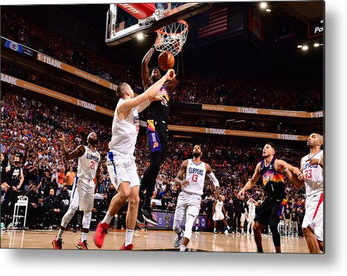 Playoffs Metal Print featuring the photograph 2021 NBA Playoffs - LA Clippers v Phoenix Suns by Barry Gossage
