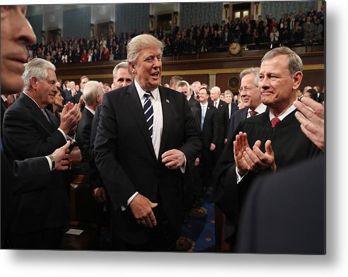 Event Metal Print featuring the photograph Donald Trump Delivers Address To Joint Session Of Congress by Pool