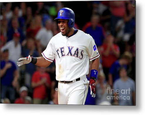 Three Quarter Length Metal Print featuring the photograph Elvis Andrus by Tom Pennington
