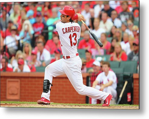 St. Louis Cardinals Metal Print featuring the photograph Matt Carpenter by Dilip Vishwanat