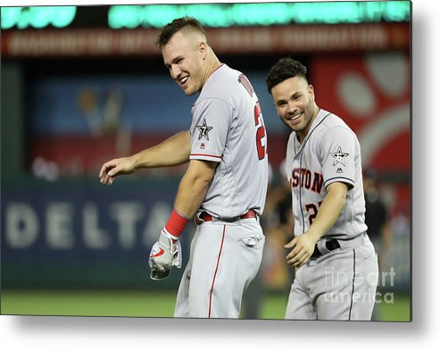 Three Quarter Length Metal Print featuring the photograph Mike Trout by Rob Carr