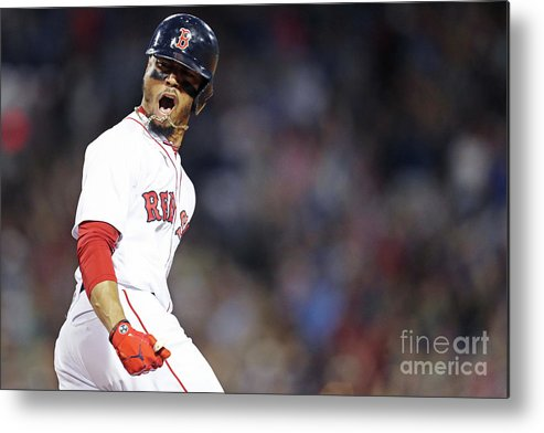 Three Quarter Length Metal Print featuring the photograph Mookie Betts by Maddie Meyer