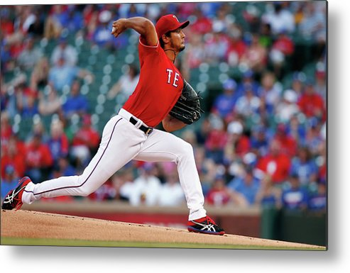 American League Baseball Metal Print featuring the photograph Yu Darvish by Tom Pennington