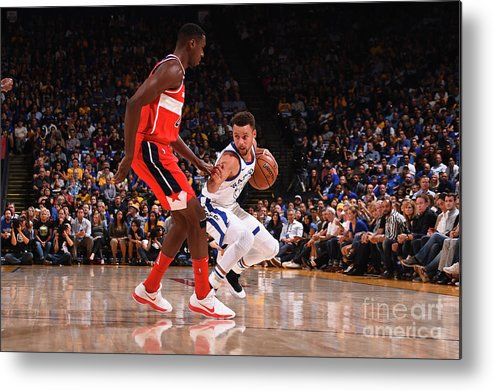 Nba Pro Basketball Metal Print featuring the photograph Stephen Curry by Noah Graham
