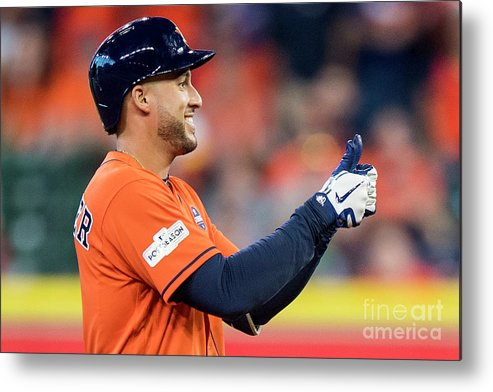 Game Two Metal Print featuring the photograph George Springer by Billie Weiss/boston Red Sox