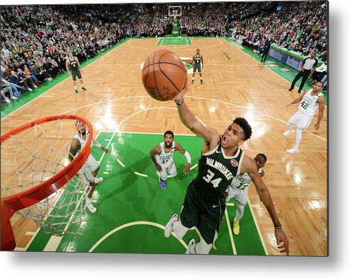 Playoffs Metal Print featuring the photograph Giannis Antetokounmpo by Brian Babineau