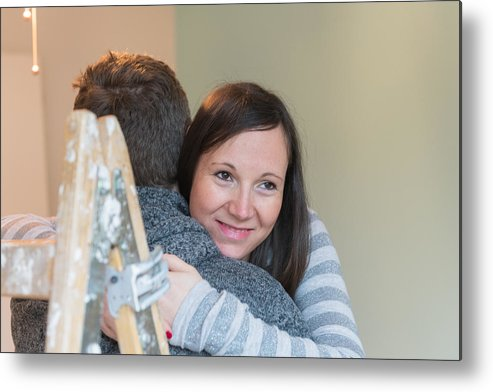Empty Metal Print featuring the photograph Pregnant Couple In A New Home by AlenaPaulus