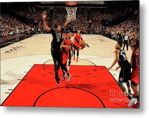 Nba Pro Basketball Metal Print featuring the photograph Damian Lillard by Cameron Browne