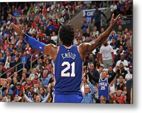 Crowd Metal Print featuring the photograph Joel Embiid by David Dow