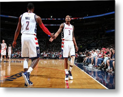 Playoffs Metal Print featuring the photograph John Wall and Bradley Beal by Ned Dishman
