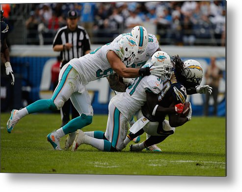 People Metal Print featuring the photograph Miami Dolphins v San Diego Chargers by Sean M. Haffey