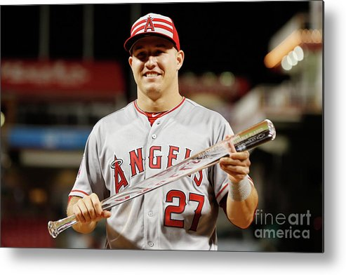 Great American Ball Park Metal Print featuring the photograph Mike Trout by Rob Carr