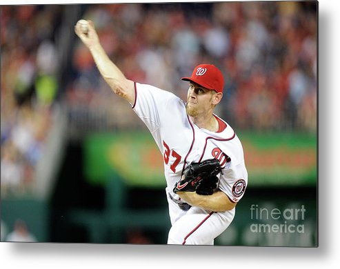 American League Baseball Metal Print featuring the photograph Stephen Strasburg by Greg Fiume
