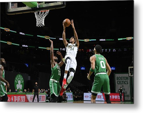 Nba Pro Basketball Metal Print featuring the photograph Giannis Antetokounmpo by Brian Babineau