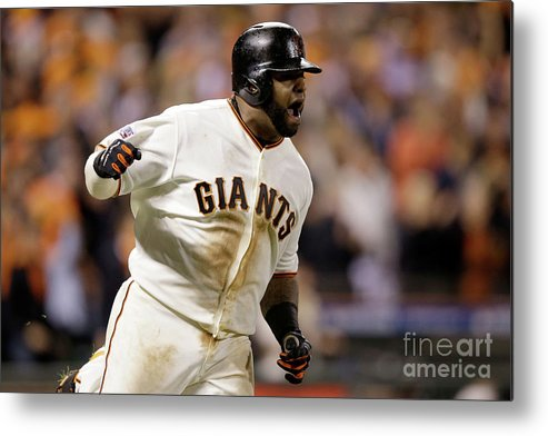 Playoffs Metal Print featuring the photograph Pablo Sandoval by Ezra Shaw