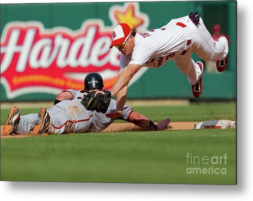 St. Louis Metal Print featuring the photograph Aaron Rowand and Ryan Theriot by Dilip Vishwanat