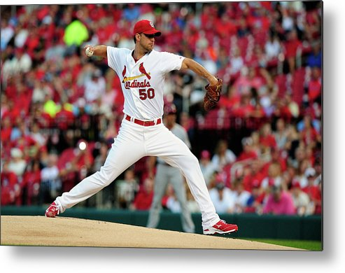 St. Louis Cardinals Metal Print featuring the photograph Adam Wainwright by Jeff Curry
