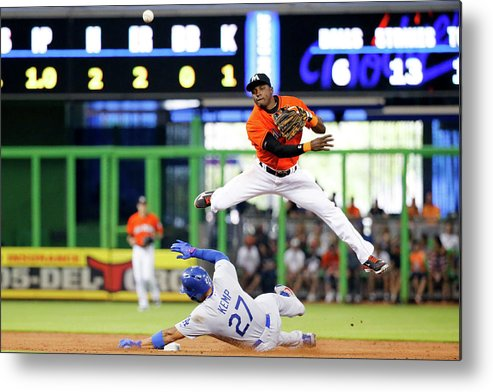 Double Play Metal Print featuring the photograph Adeiny Hechavarria and Matt Kemp by Rob Foldy