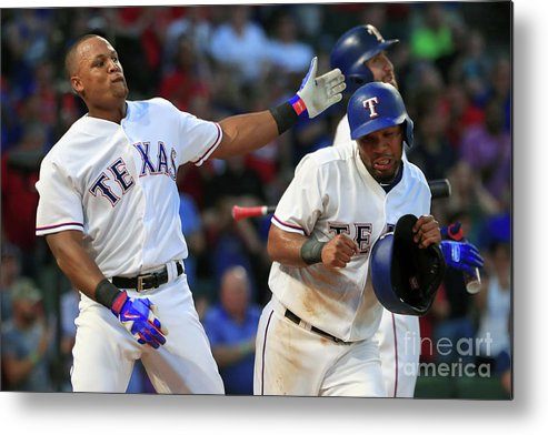Headwear Metal Print featuring the photograph Adrian Beltre and Elvis Andrus by Tom Pennington