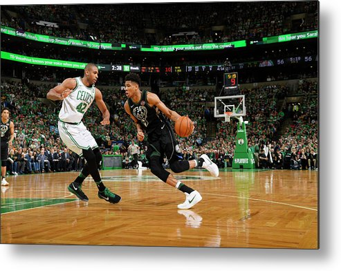 Playoffs Metal Print featuring the photograph Al Horford and Giannis Antetokounmpo by Brian Babineau