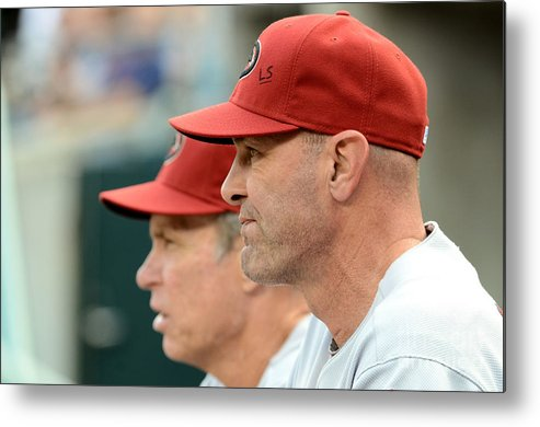 American League Baseball Metal Print featuring the photograph Alan Trammell and Kirk Gibson by Mark Cunningham