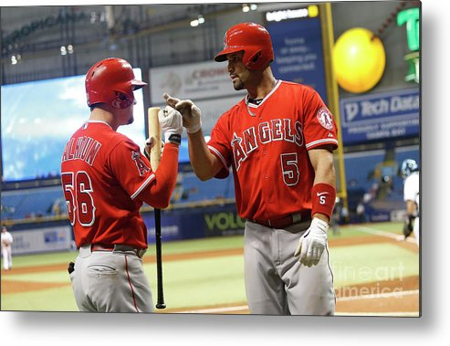 Ninth Inning Metal Print featuring the photograph Albert Pujols and Kole Calhoun by Brian Blanco