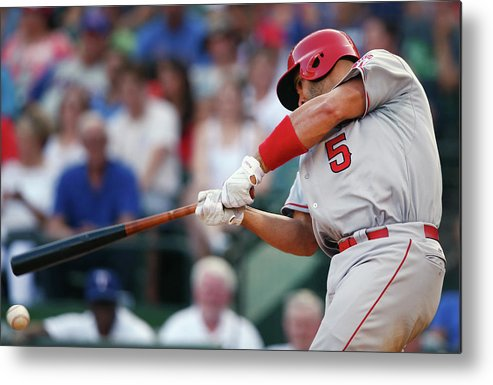 Three Quarter Length Metal Print featuring the photograph Albert Pujols by Tom Pennington