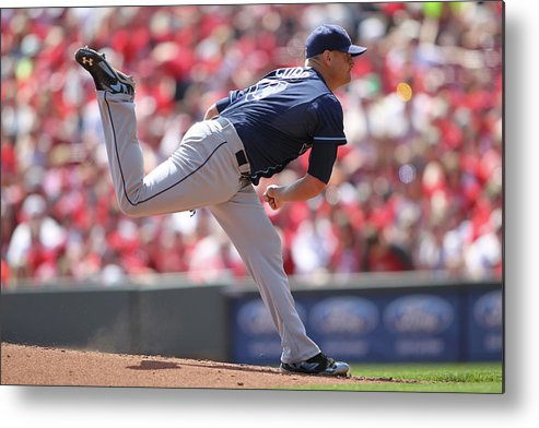 Great American Ball Park Metal Print featuring the photograph Alex Cobb by John Grieshop