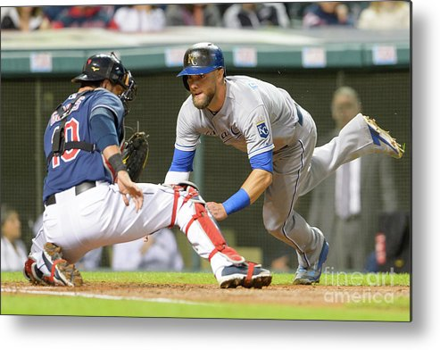 Baseball Catcher Metal Print featuring the photograph Alex Gordon and Yan Gomes by Jason Miller