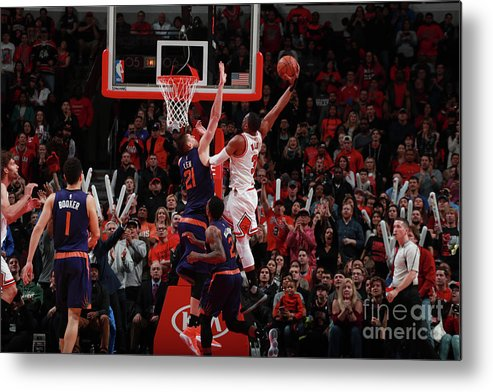 Nba Pro Basketball Metal Print featuring the photograph Alex Len and Dwyane Wade by Jeff Haynes