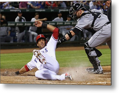 American League Baseball Metal Print featuring the photograph Alex Rios and Tyler Flowers by Tom Pennington