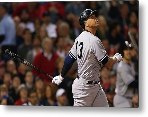 American League Baseball Metal Print featuring the photograph Alex Rodriguez by Jim Rogash