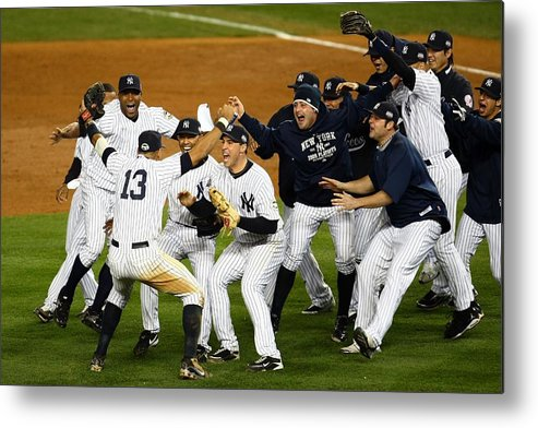 American League Baseball Metal Print featuring the photograph Alex Rodriguez, Mark Teixeira, and Mariano Rivera by Chris Mcgrath