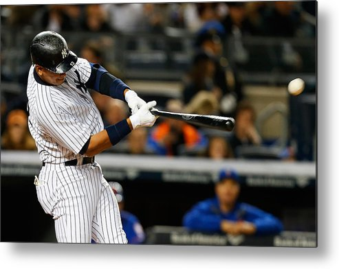 Three Quarter Length Metal Print featuring the photograph Alex Rodriguez by Mike Stobe