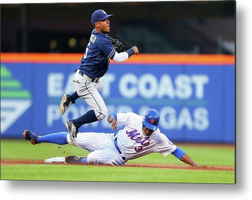 Double Play Metal Print featuring the photograph Alexi Amarista and Curtis Granderson by Mike Stobe