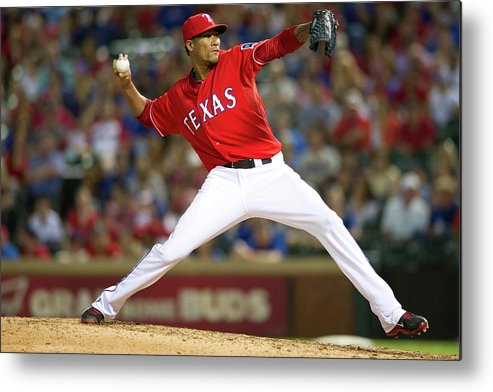 American League Baseball Metal Print featuring the photograph Alexi Ogando by Cooper Neill