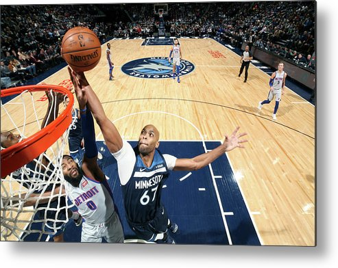 Nba Pro Basketball Metal Print featuring the photograph Andre Drummond and Taj Gibson by David Sherman
