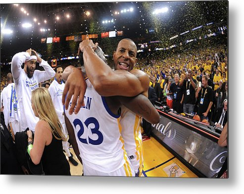Playoffs Metal Print featuring the photograph Andre Iguodala and Draymond Green by Noah Graham