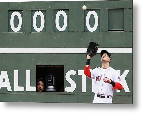 People Metal Print featuring the photograph Andrew Benintendi And Josh Donaldson by Maddie Meyer