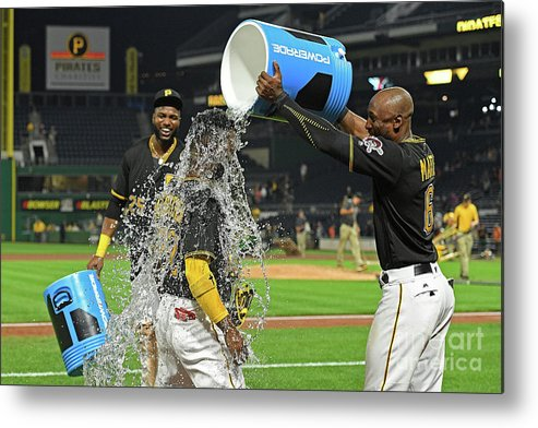 Three Quarter Length Metal Print featuring the photograph Andrew Mccutchen, Starling Marte, and Gregory Polanco by Justin Berl