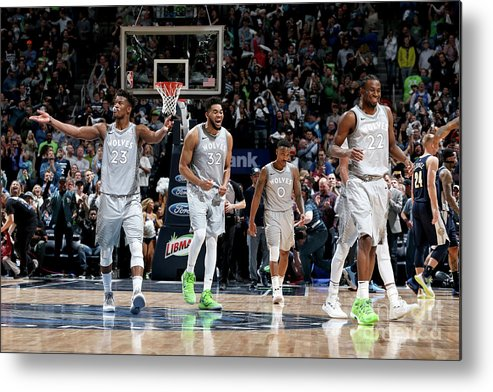Nba Pro Basketball Metal Print featuring the photograph Andrew Wiggins and Jeff Teague by David Sherman