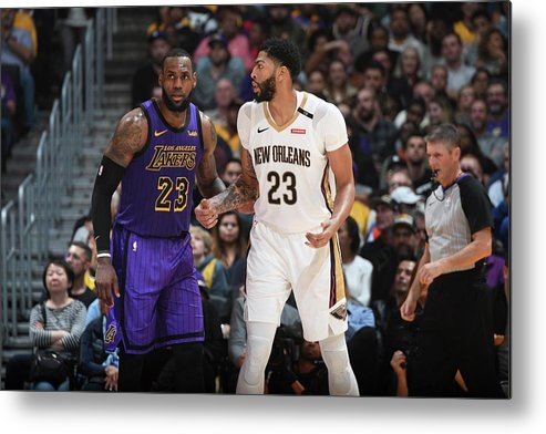 Nba Pro Basketball Metal Print featuring the photograph Anthony Davis and Lebron James by Andrew D. Bernstein