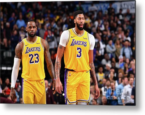 Nba Pro Basketball Metal Print featuring the photograph Anthony Davis and Lebron James by Jesse D. Garrabrant