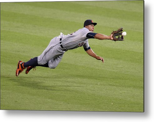 People Metal Print featuring the photograph Anthony Gose and Adam Jones by Mitchell Layton