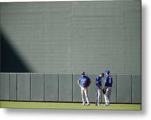 American League Baseball Metal Print featuring the photograph Anthony Gose and Melky Cabrera by Jonathan Ernst