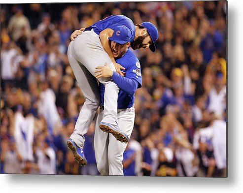 Playoffs Metal Print featuring the photograph Anthony Rizzo and Jake Arrieta by Justin K. Aller