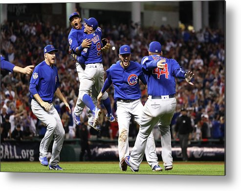 American League Baseball Metal Print featuring the photograph Anthony Rizzo and Kris Bryant by Ezra Shaw