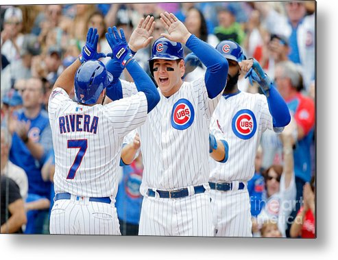 Second Inning Metal Print featuring the photograph Anthony Rizzo and Rene Rivera by Jon Durr